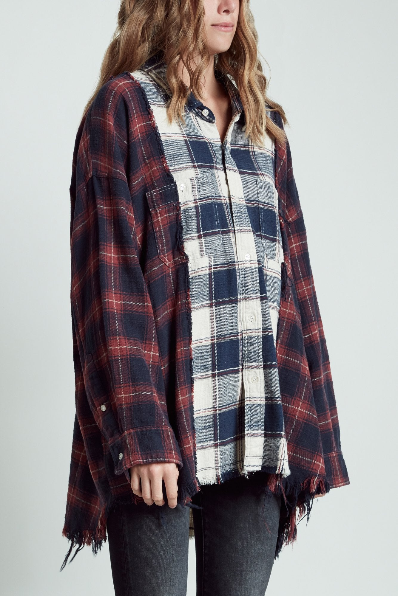 Drop Neck Combo Workshirt - Ecru with Maroon Plaid