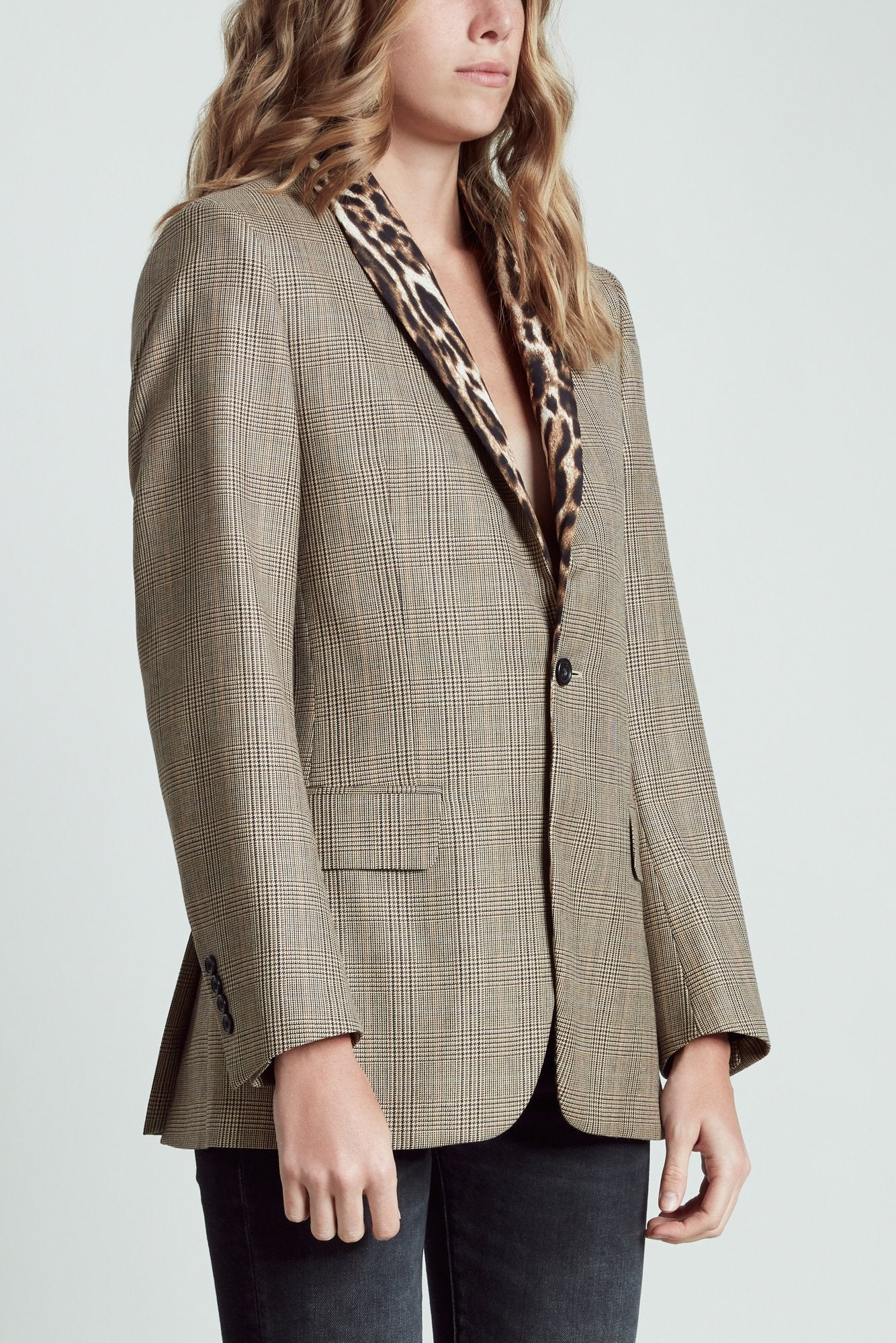 Shawl Lapel Tuxedo - Brown Glenplaid with Leopard