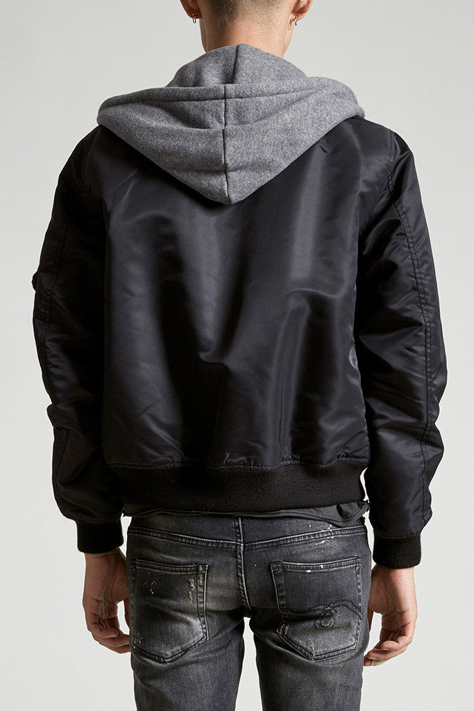 Hooded Flight Jacket - Black W/ Heather Grey