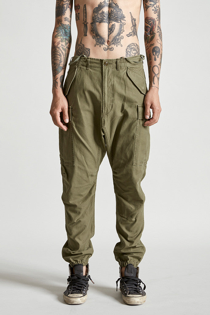 R13 denim cotton traditional military cargo pant in olive green