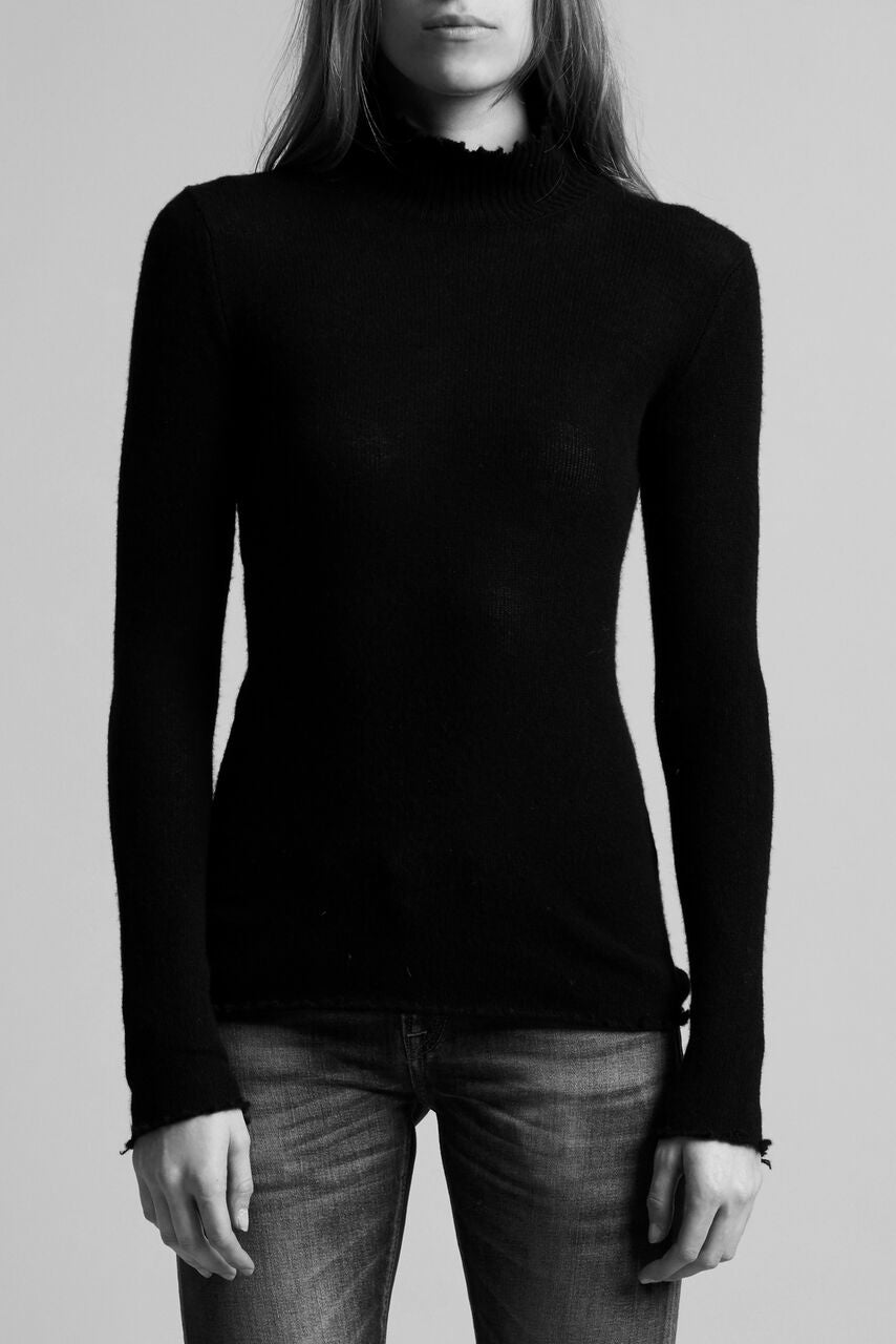 R13 classic tight turtleneck with distressed hems in black
