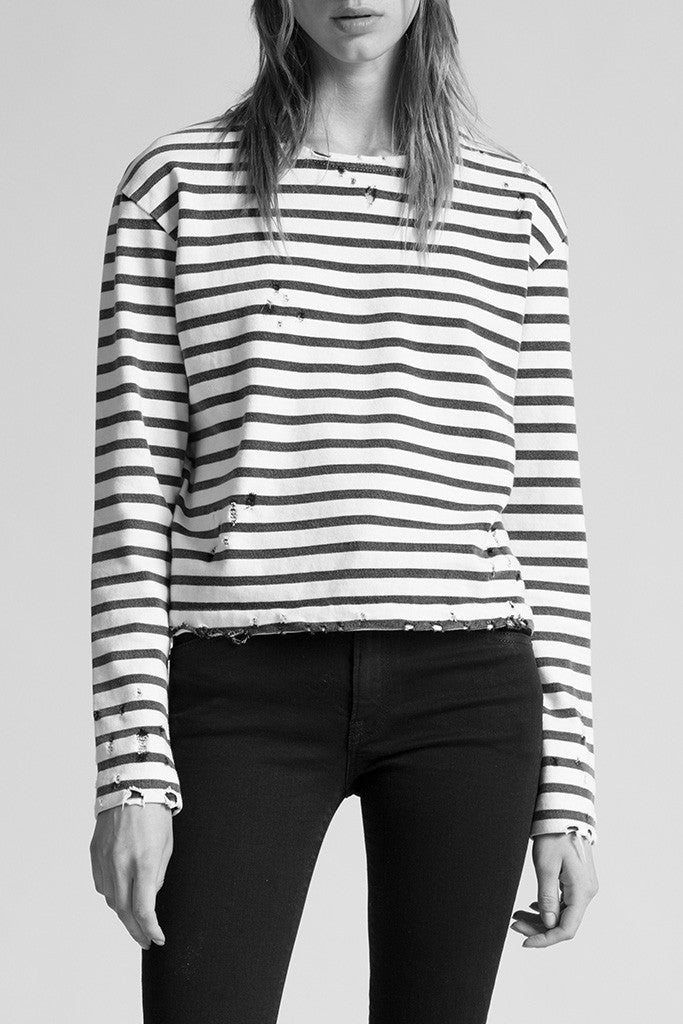 R13 cotton black and white striped long sleeve crewneck tee