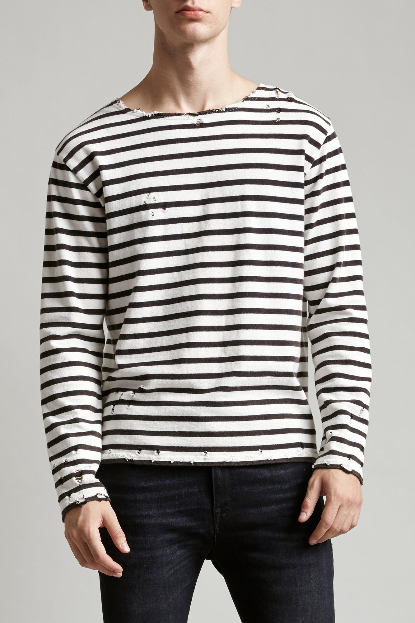 R13 cotton crewneck long sleeved tee with black and white stripes