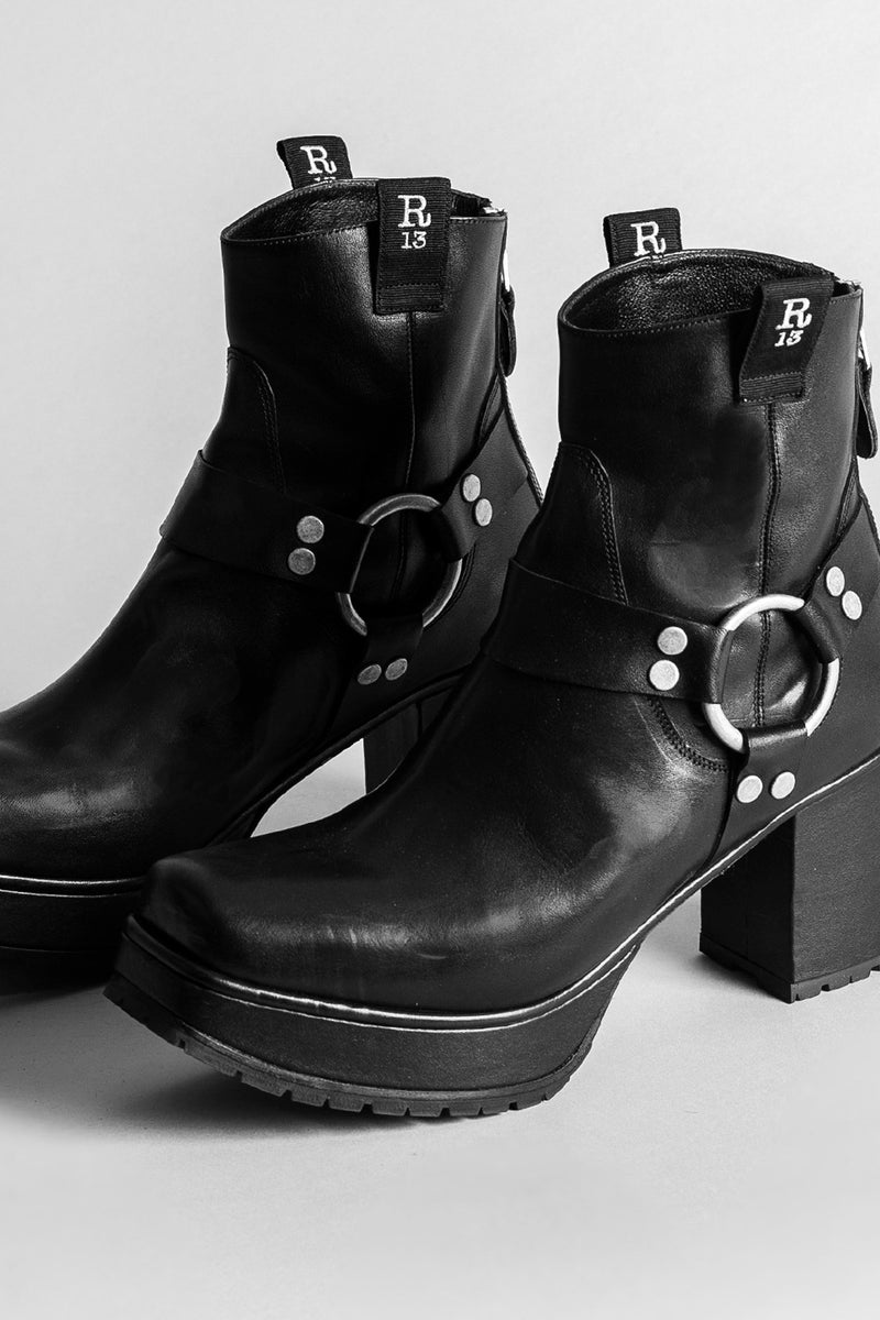 Ankle Harness Half Platform Boot -  Black