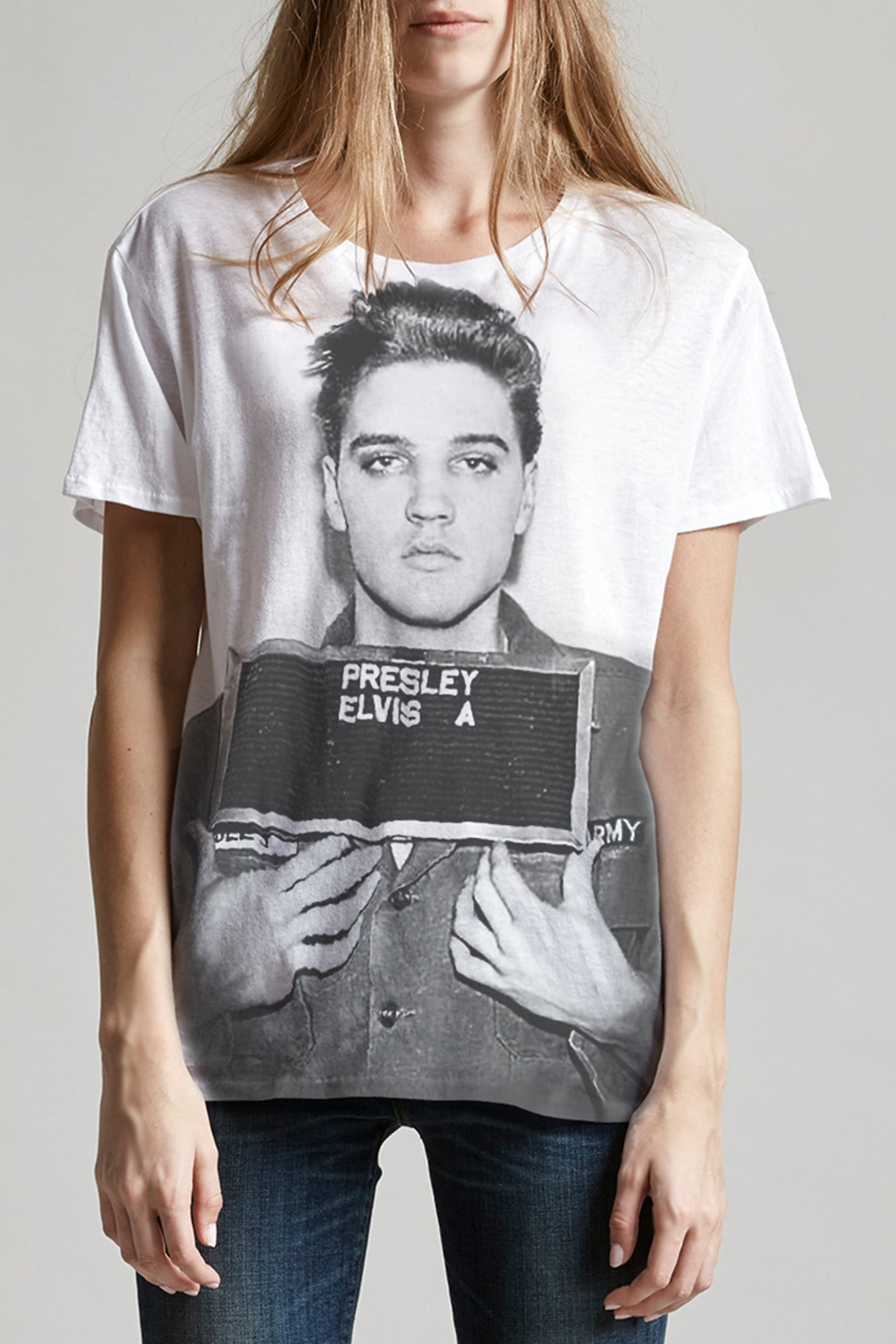 R13 short sleeved crewneck tee in white with elvis print