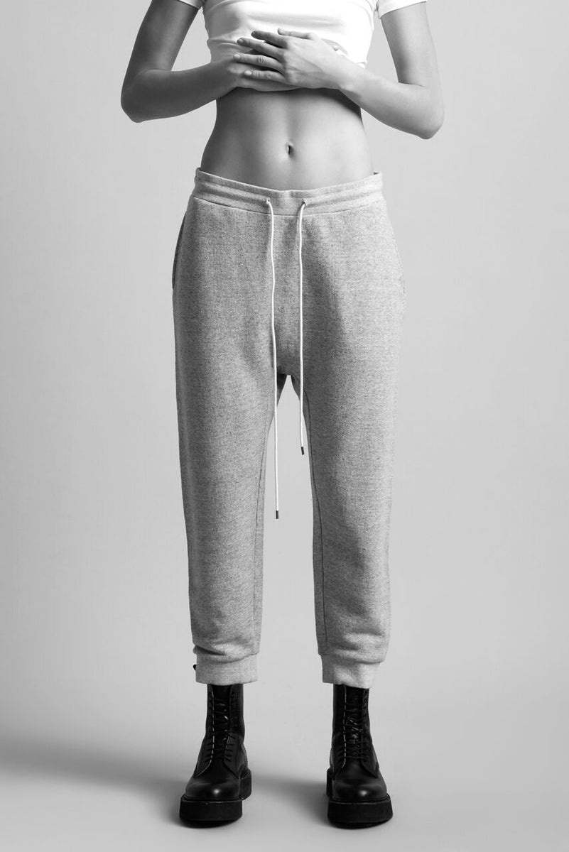 R13 relaxed fit sweatpant with drawstring in heather grey