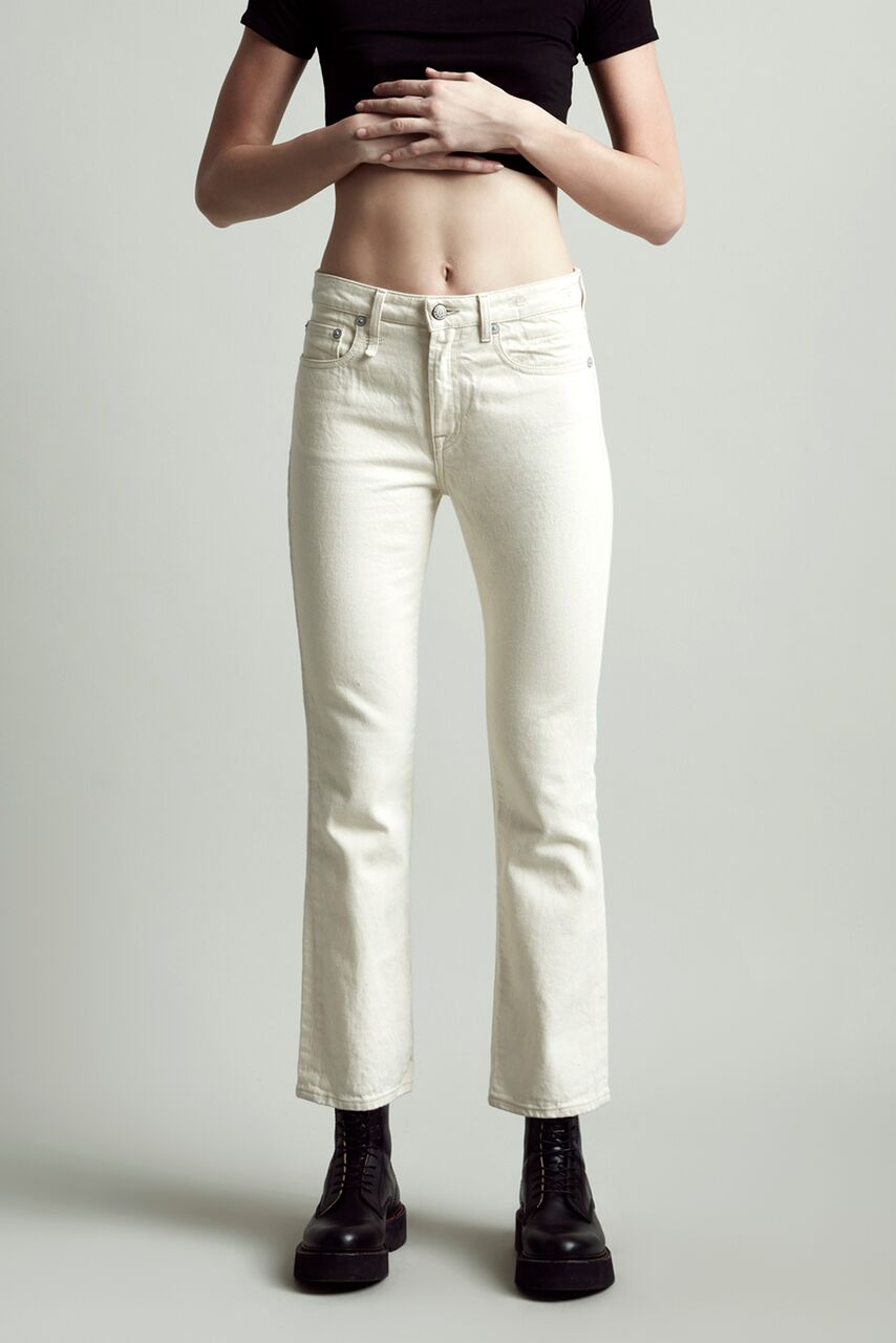 r13 Denim cropped mid rise jean with slight flare in white kent ecru