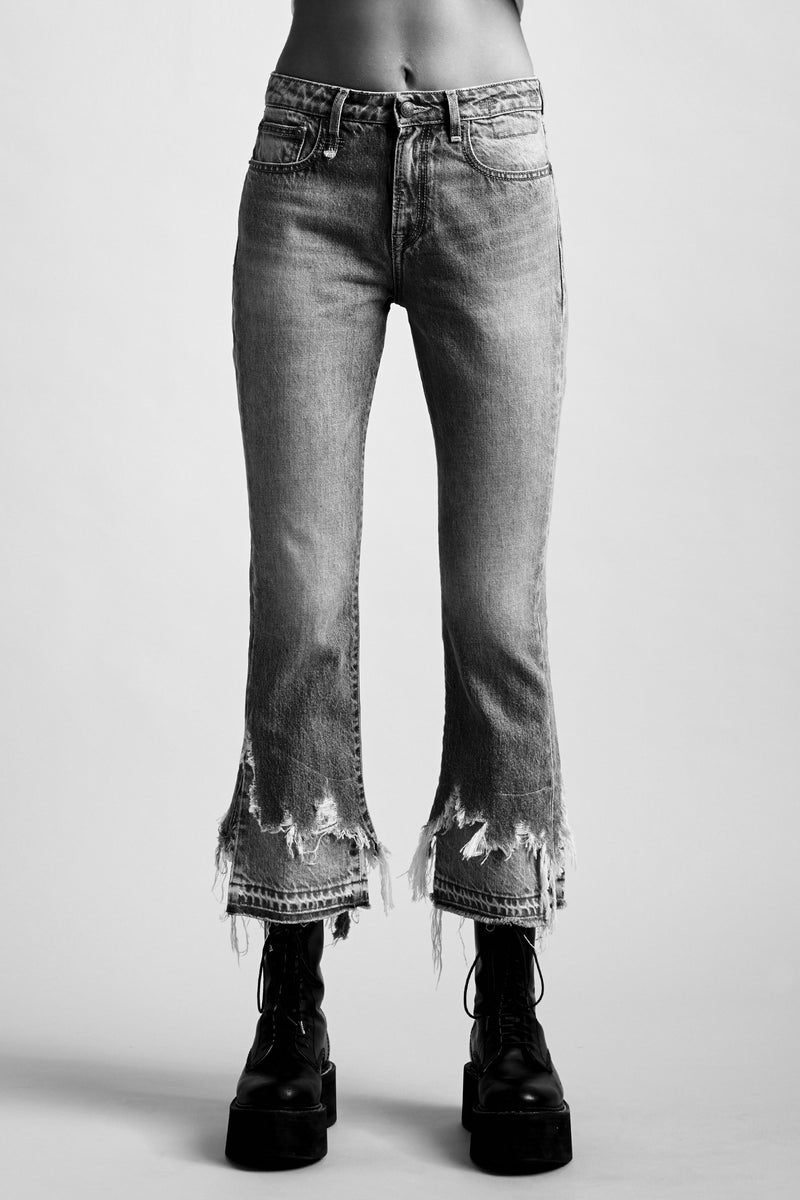 R13 Denim Jean with a double shredded hem in two colours in a kick fit slight flare mid rise