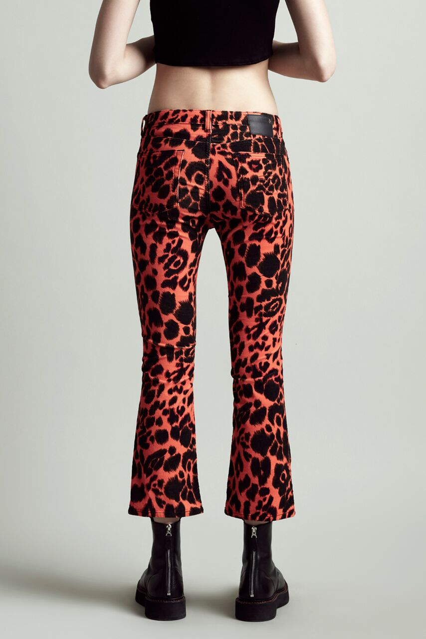 R13 Denim cropped mid rise jean with slight flare in orange leopard