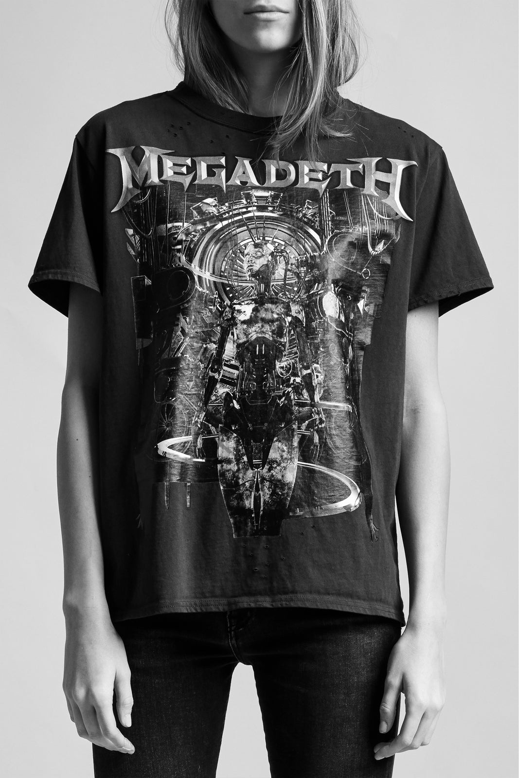 R13 classic band tee with crewneck and megadeth graphic in black