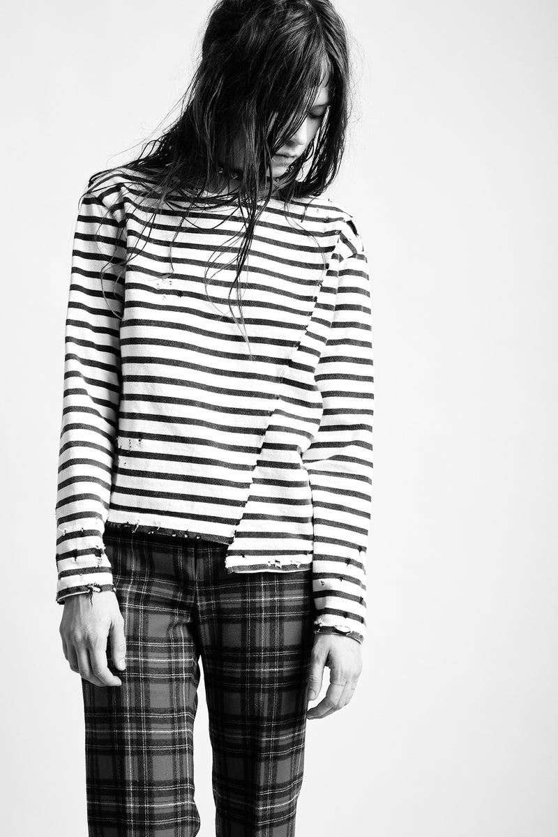Shift Seam Striped L/S T - Black/Creme