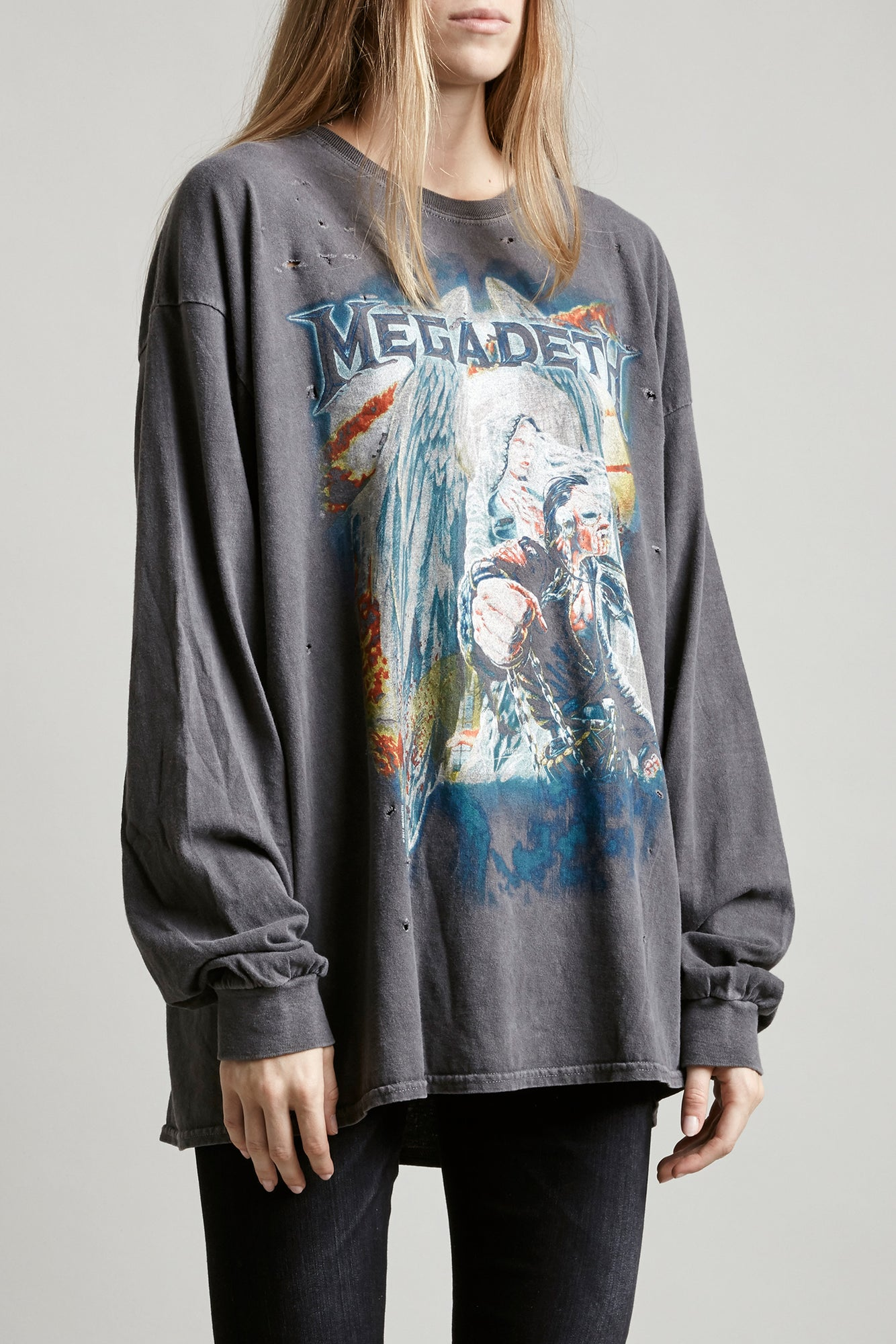 R13 Denim classic cotton Megadeth band tee, exaggerated long sleeves in faded black