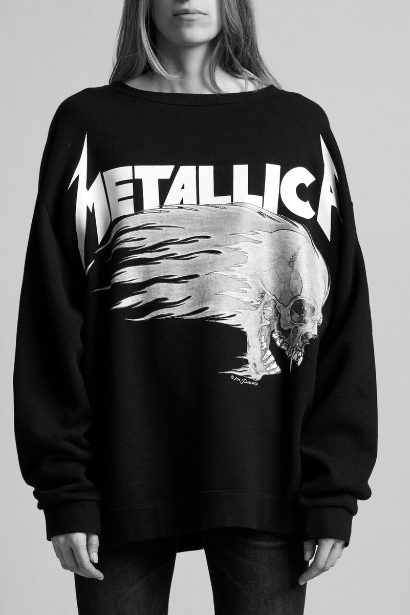 R13 cotton crewneck sweatshirt in black with Metallica graphic