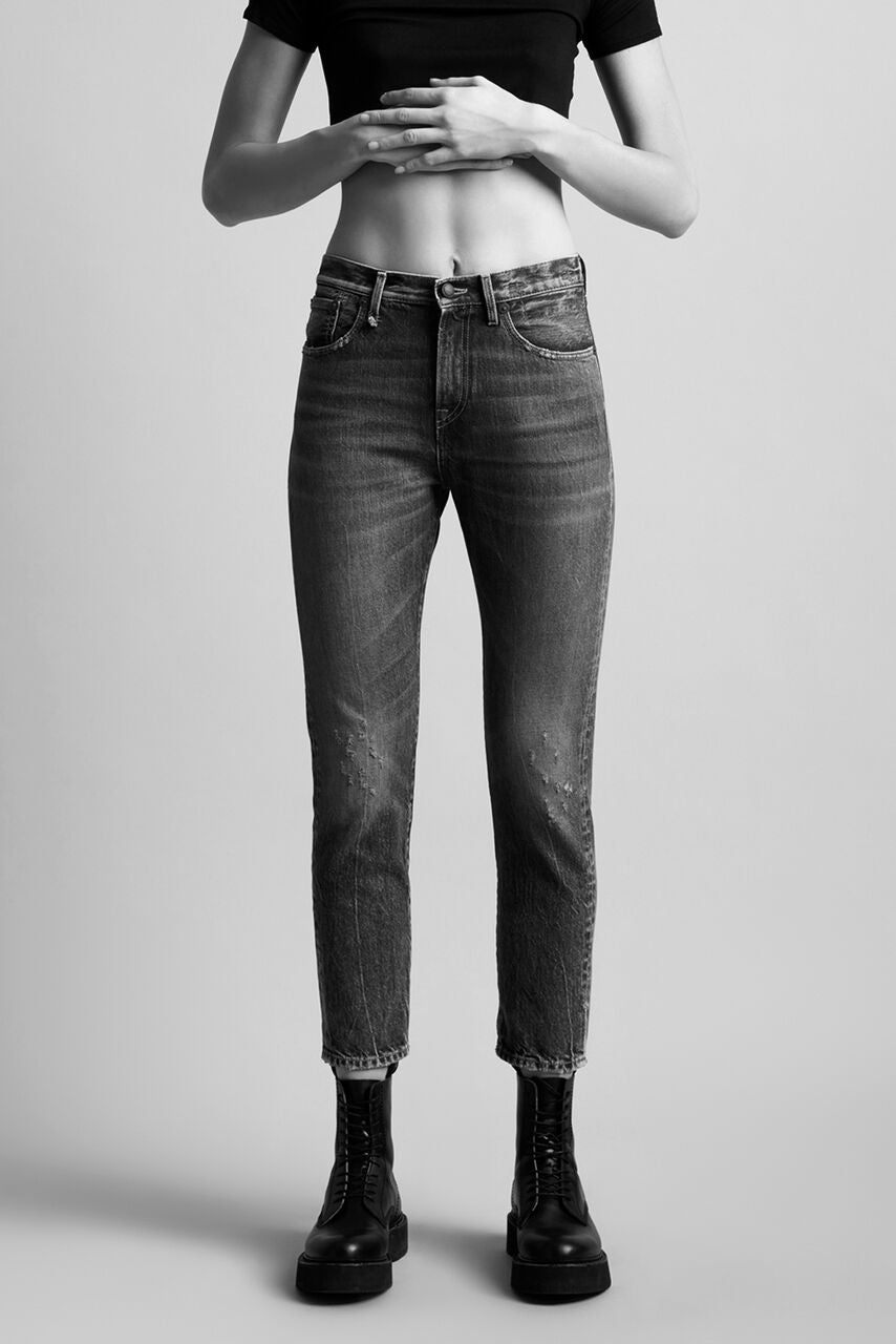 R13 denim high waisted straight fit through hips and thighs mom jean, light blue wash with slight distressing on legs