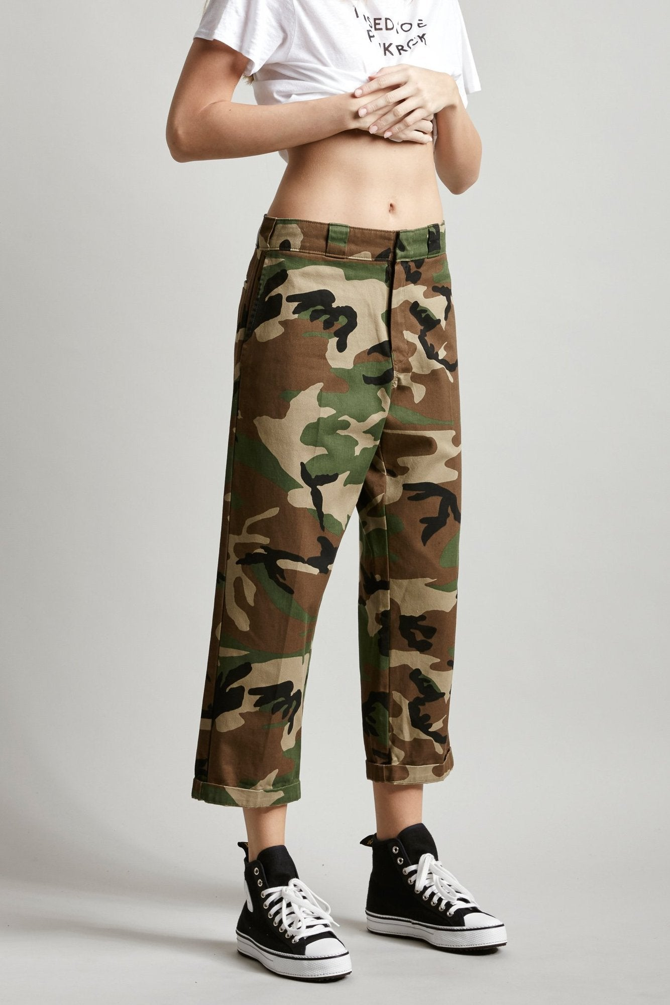 R13 Denim mid rise relaxed fit cropped camo pant