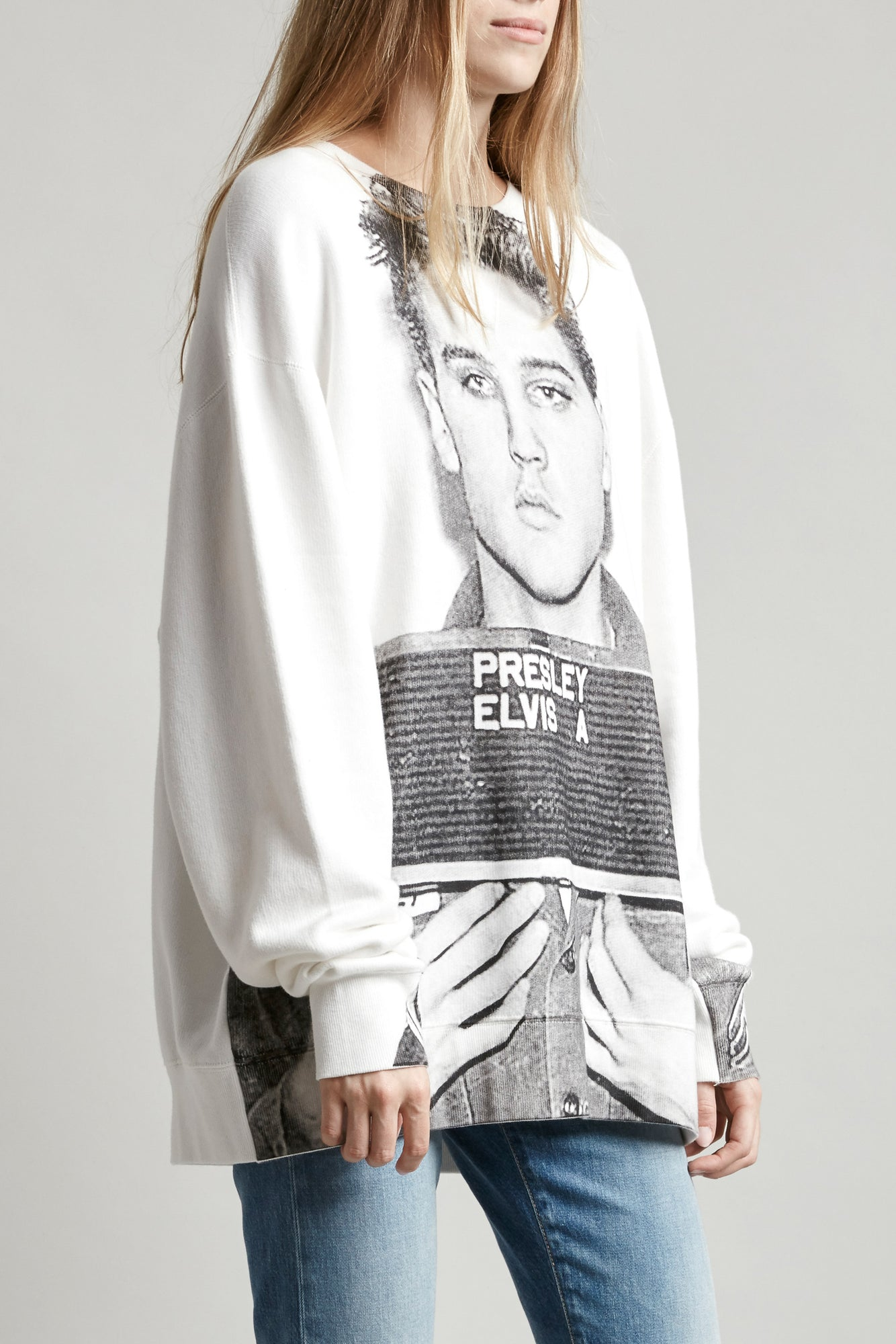 R13 oversized crewneck sweatshirt in white with Elvis mugshot graphic