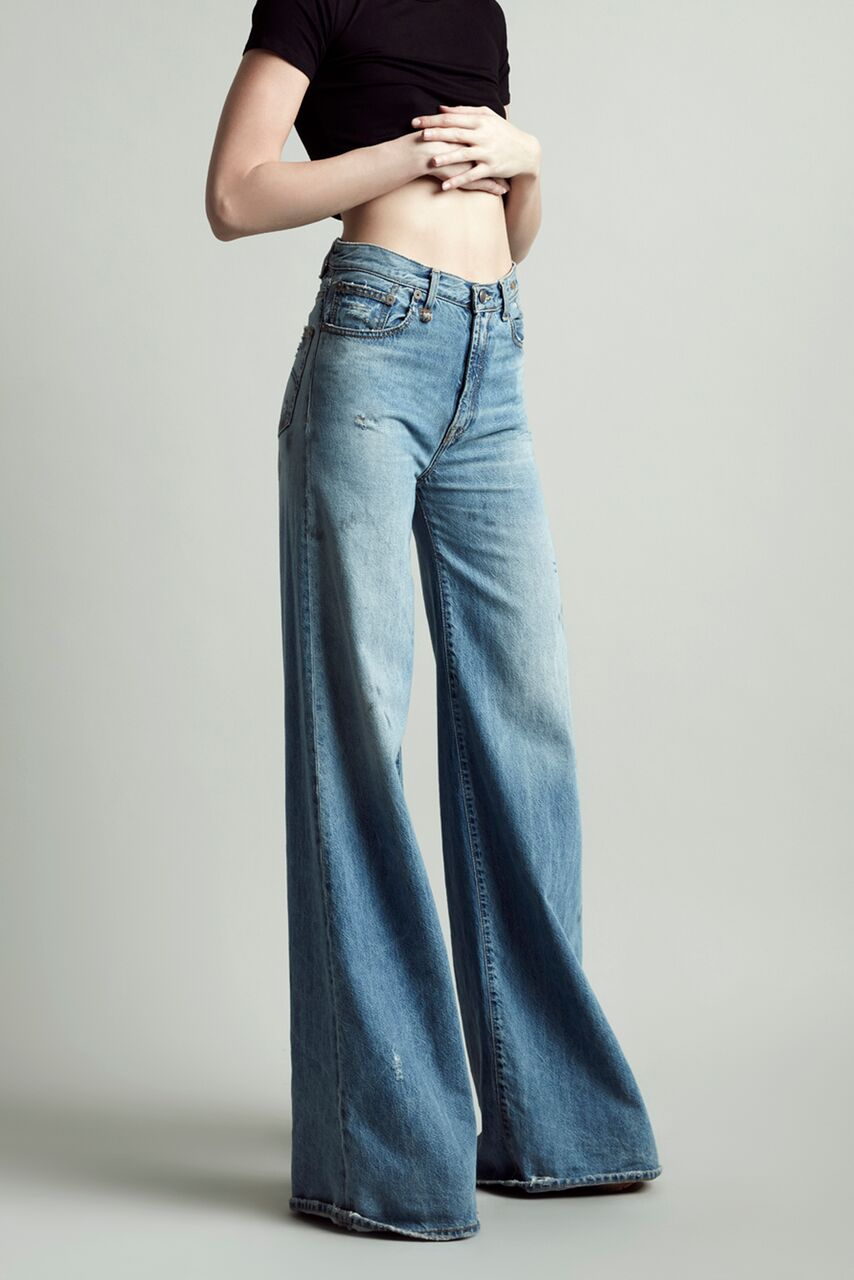 R13 Denim long wide leg high rise jeans in light blue wash holly