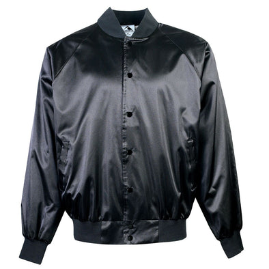 SATIN BASEBALL JACKET/SOLID TRIM