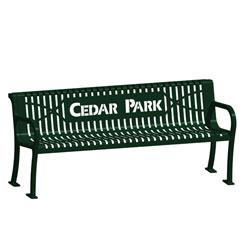 4' Laser Lettered Lexington Wave Bench