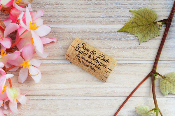 Custom save the date magnet halves of corks - Allincork.com