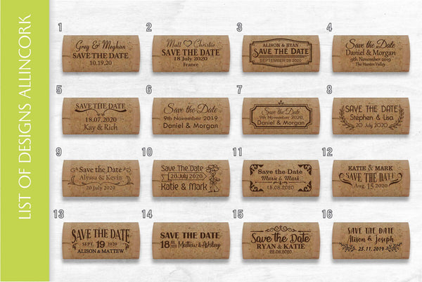 Custom cork halves for save the date with magnet - AllinCork.com