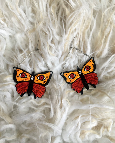 Autumn Moth Dangle Earrings