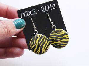 Zebra Print Earrings in Lime Green