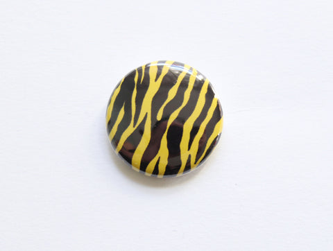 Zebra Print One Inch Button in Lime Green