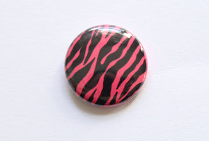 Zebra Print One Inch Button in Hot Pink