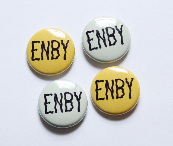 Enby One Inch Button in Green or Yellow