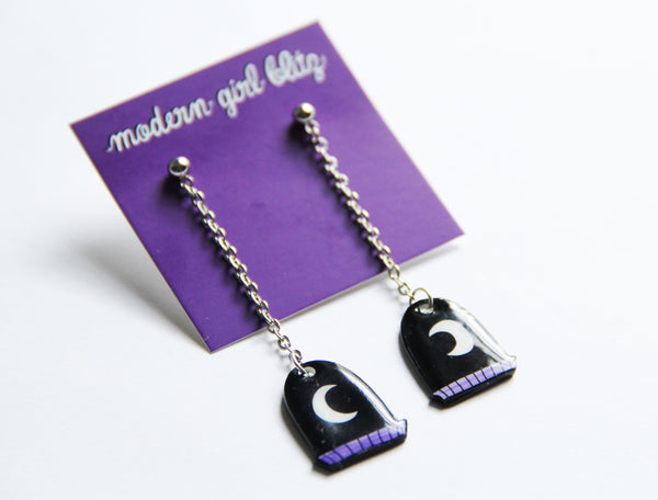 Crescent Moon Window Dangle Earrings