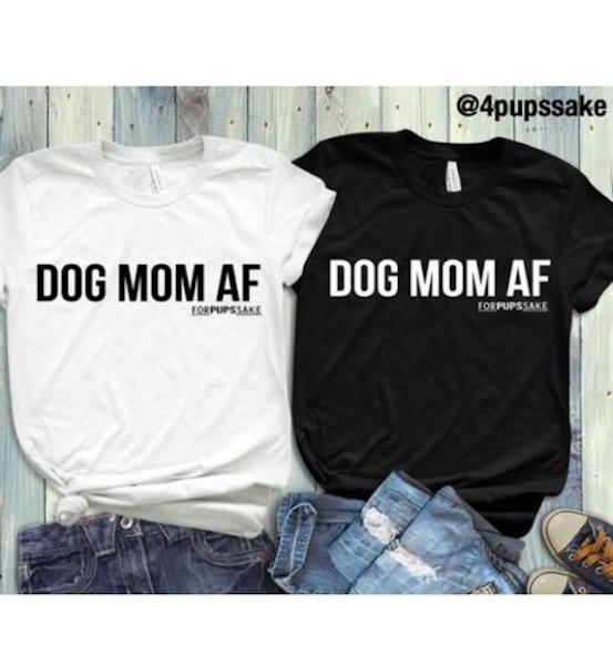 dog mom af shirt black white gifts lover Christmas birthday present