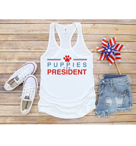 Puppies for President Women's Racerback Tank