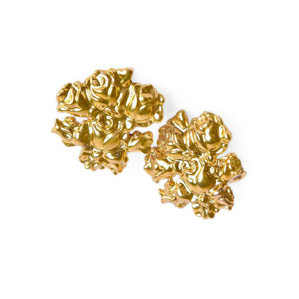 Gold Baroque Roses Earrings