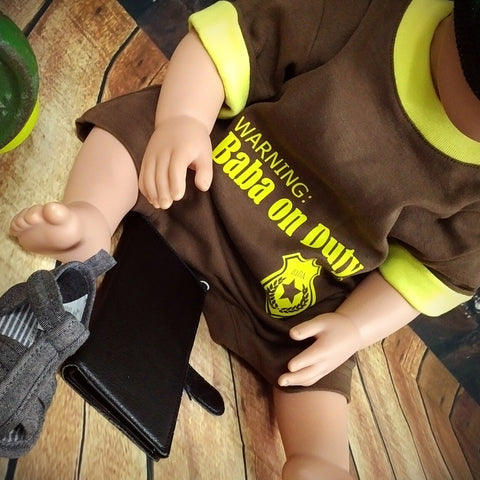Warning: Baba on Duty™ - Romper MuslimChild.ca Muslim baby clothes for ages 3 months to 14 years old. Funny tshirts, funny onesies, sleepers and onesies. Muslim children's appeal, Islamic wear, Muslim parents, Muslim Children.