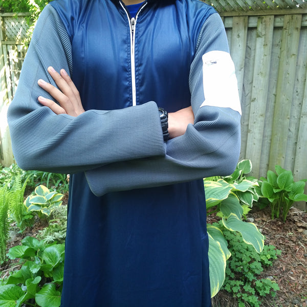 MuslimChild.ca Blue Jay – Blue Hooded, Zipper Thobe with a White Pocket on Grey Ribbed Sleeve - Canada, WorldWide Shipping, Jubba, Quality, Sunnah Wear