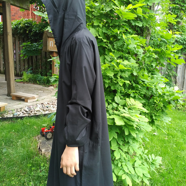 MuslimChild.ca Desert Camo  - Black Hooded Thobe with Desert Camouflage Inside Hood - Canada , ships worldwide , quality, affordable, designer thobes or jubbas. Fits boys, teens and men sizes 42-60xl