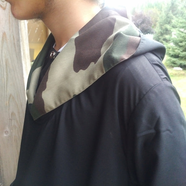 MuslimChild.ca Green Camo - Black Hooded Thobe with Green Camouflage Inside Hood - Canada , ships worldwide , quality, affordable, designer thobes or jubbas. Fits boys, teens and men sizes 42-60xl