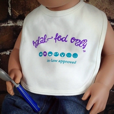 Halal Fed – In Law Approved™ Bib  MuslimChild.ca Muslim baby clothes for ages 3 months to 14 years old. Funny tshirts, funny onesies, sleepers and onesies. Muslim children's appeal, Islamic wear, Muslim parents, Muslim Children.