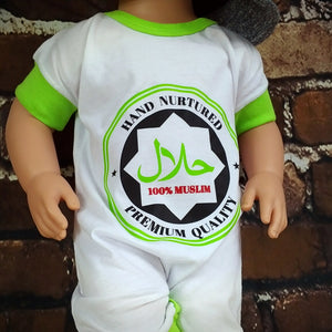 100% Muslim, Hand Nurtured, Premium Quality™ - Romper MuslimChild.ca Muslim baby clothes for ages 3 months to 14 years old. Funny tshirts, funny onesies, sleepers and onesies. Muslim children's appeal, Islamic wear, Muslim parents, Muslim Children.