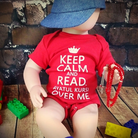 Keep Calm & Read Ayatul Kursi Over Me™ - Onesie MuslimChild.ca Muslim baby clothes for ages 3 months to 14 years old. Funny tshirts, funny onesies, sleepers and onesies. Muslim children's appeal, Islamic wear, Muslim parents, Muslim Children.