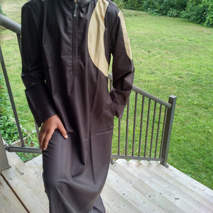 MuslimChild.ca Kudu  - Brown Light Cotton Hoody with Cream Accents Canada , ships worldwide , quality, affordable, designer thobes or jubbas. Fits boys, teens and men sizes 42-60xl