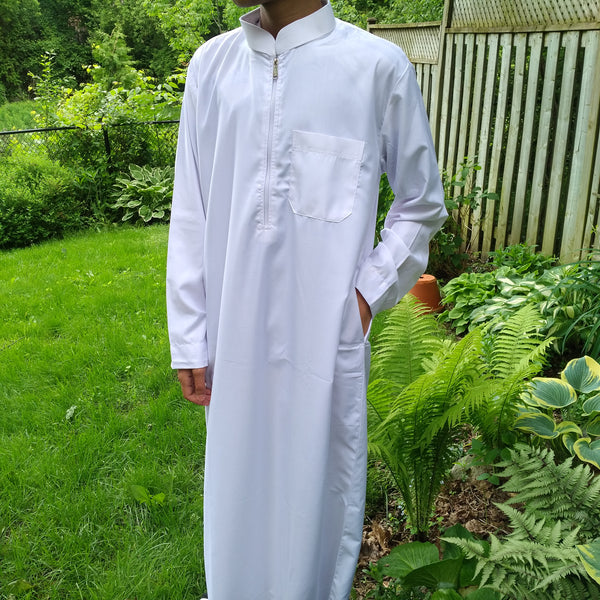 MuslimChild.ca Mist – All White Thobe , Open Collar with Zipper - Canada , ships worldwide , quality, affordable, designer thobes or jubbas. Fits boys, teens and men sizes 42-60xl
