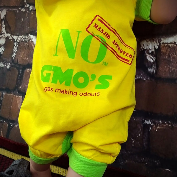 No GMOs – Gas Making Odours, Masjid Approved™ Romper MuslimChild.ca Muslim baby clothes for ages 3 months to 14 years old. Funny tshirts, funny onesies, sleepers and onesies. Muslim children's appeal, Islamic wear, Muslim parents, Muslim Children.