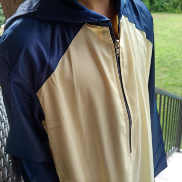 MuslimChild.ca Ocean - Cream Hooded Thobe, with Rich Blue Hood & Sleeves - Canada , ships worldwide , quality, affordable, designer thobes or jubbas. Fits boys, teens and men sizes 42-60xl