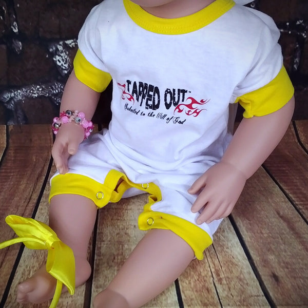 Tapped Out – Submitted to the Will of God™ - Romper  MuslimChild.ca Muslim baby clothes for ages 3 months to 14 years old. Funny tshirts, funny onesies, sleepers and onesies. Muslim children's appeal, Islamic wear, Muslim parents, Muslim Children.