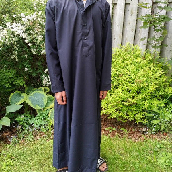 MuslimChild.ca Wave – Navy Blue Hoody with Buttons - Canada , ships worldwide , quality, affordable, designer thobes or jubbas. Fits boys, teens and men sizes 42-60xl
