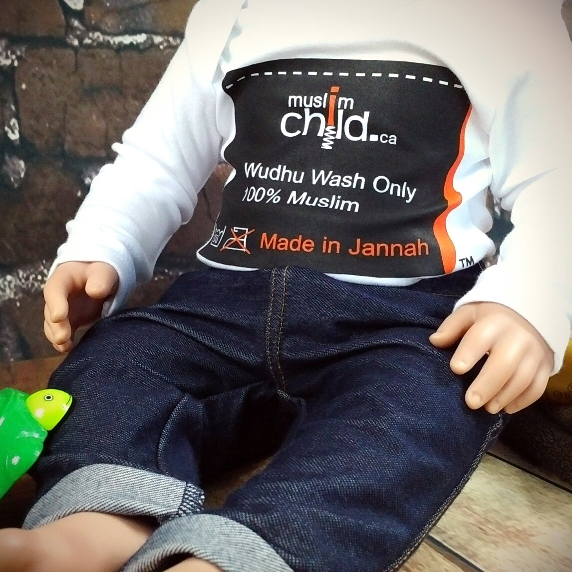 Muslim Child - Wudhu Wash - Made In Jannah™ Clothes Tag – Long Sleeve Onesie  MuslimChild.ca Muslim baby clothes for ages 3 months to 14 years old. Funny tshirts, funny onesies, sleepers and onesies. Muslim children's appeal, Islamic wear, Muslim parents, Muslim Children.