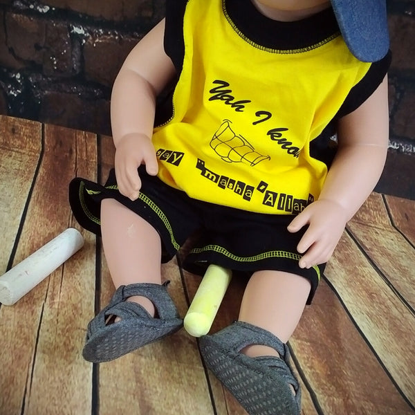 "Yah I Know! Say, ""Masha'Allah""™ – T-Shirt and Shorts Set MuslimChild.ca Muslim baby clothes for ages 3 months to 14 years old. Funny tshirts, funny onesies, sleepers and onesies. Muslim children's appeal, Islamic wear, Muslim parents, Muslim Children."