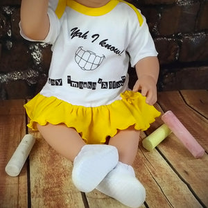 "Yah I Know! Say, ""Masha'Allah""™ – 3pc Ruffled Dress Set MuslimChild.ca Muslim baby clothes for ages 3 months to 14 years old. Funny tshirts, funny onesies, sleepers and onesies. Muslim children's appeal, Islamic wear, Muslim parents, Muslim Children."